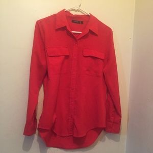 EUC APT. 9 RED BUTTON DOWN LONG SLEEVE SHIRT